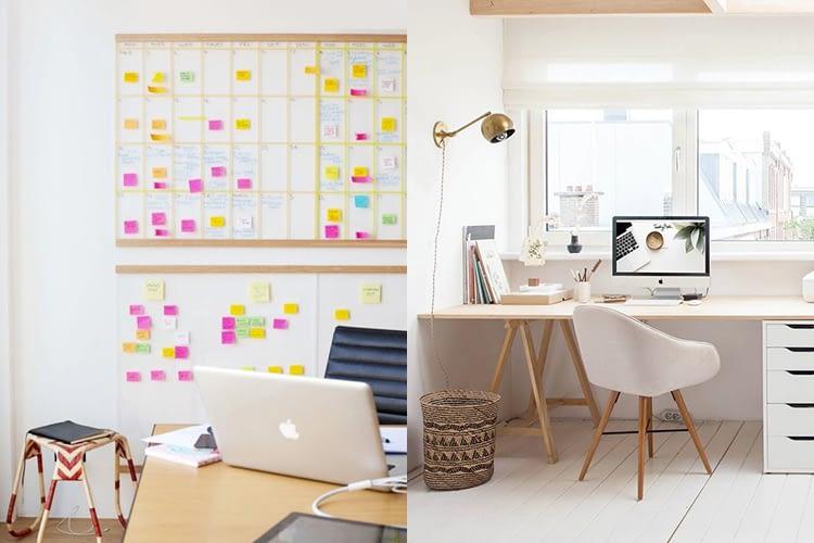 Imagem dividida em dois escritórios bem organizados